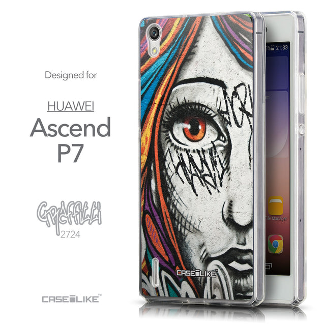 Front & Side View - CASEiLIKE Huawei Ascend P7 back cover Graffiti Girl 2724