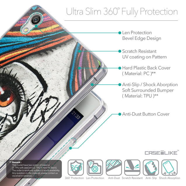 Details in English - CASEiLIKE Huawei Ascend P7 back cover Graffiti Girl 2724