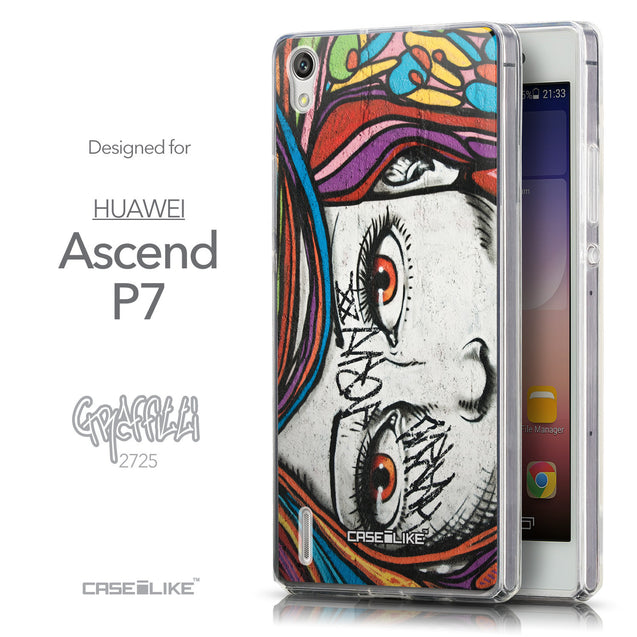 Front & Side View - CASEiLIKE Huawei Ascend P7 back cover Graffiti Girl 2725