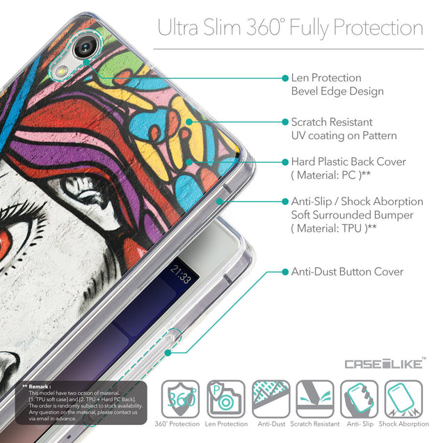 Details in English - CASEiLIKE Huawei Ascend P7 back cover Graffiti Girl 2725