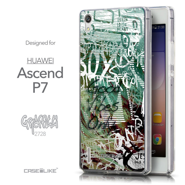 Front & Side View - CASEiLIKE Huawei Ascend P7 back cover Graffiti 2728