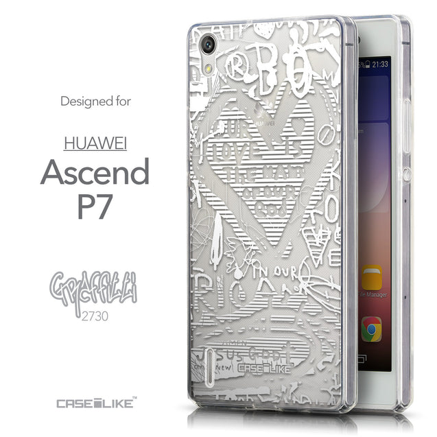 Front & Side View - CASEiLIKE Huawei Ascend P7 back cover Graffiti 2730