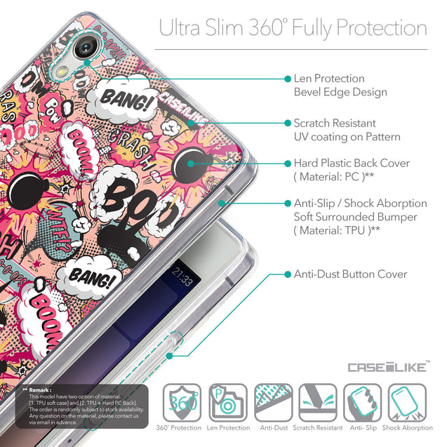 Details in English - CASEiLIKE Huawei Ascend P7 back cover Comic Captions Pink 2912