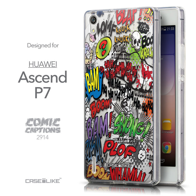 Front & Side View - CASEiLIKE Huawei Ascend P7 back cover Comic Captions 2914