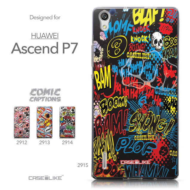 Collection - CASEiLIKE Huawei Ascend P7 back cover Comic Captions Black 2915