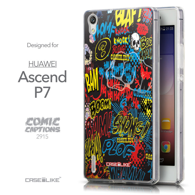 Front & Side View - CASEiLIKE Huawei Ascend P7 back cover Comic Captions Black 2915