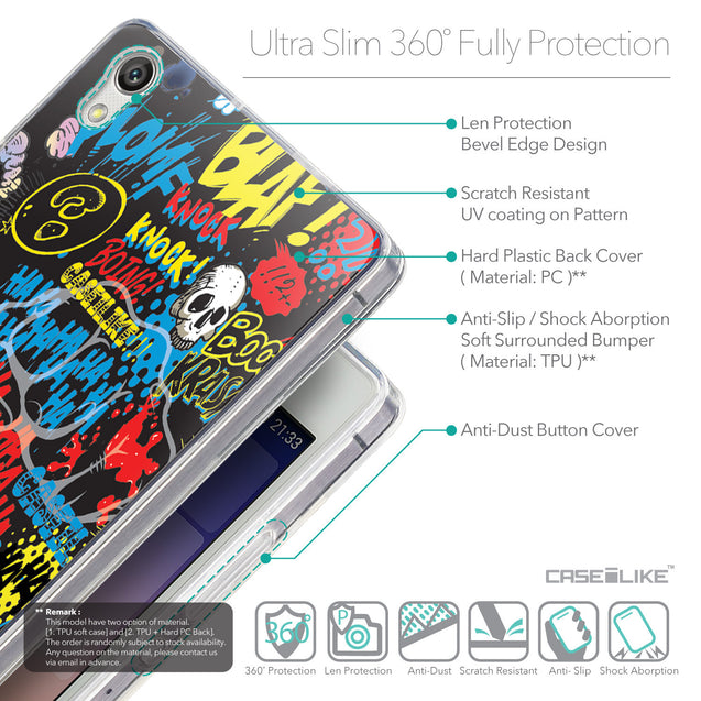 Details in English - CASEiLIKE Huawei Ascend P7 back cover Comic Captions Black 2915