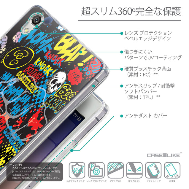 Details in Japanese - CASEiLIKE Huawei Ascend P7 back cover Comic Captions Black 2915