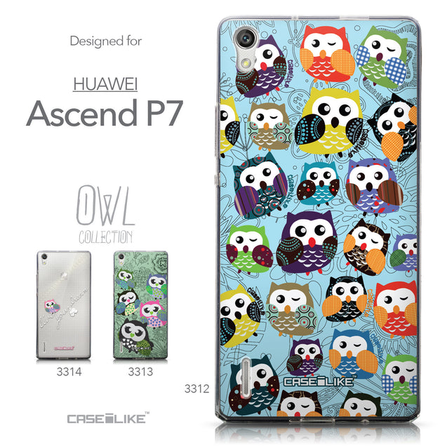 Collection - CASEiLIKE Huawei Ascend P7 back cover Owl Graphic Design 3312