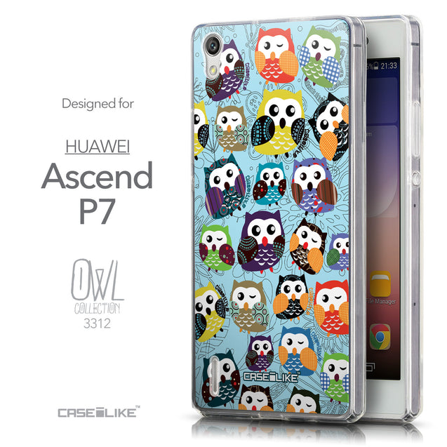 Front & Side View - CASEiLIKE Huawei Ascend P7 back cover Owl Graphic Design 3312