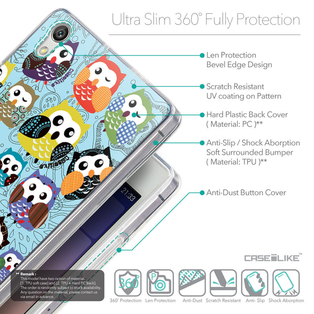 Details in English - CASEiLIKE Huawei Ascend P7 back cover Owl Graphic Design 3312