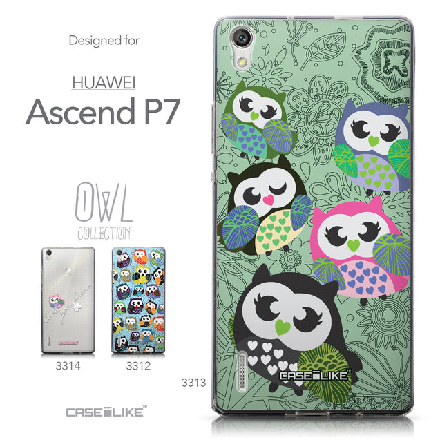 Collection - CASEiLIKE Huawei Ascend P7 back cover Owl Graphic Design 3313