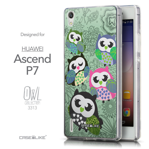 Front & Side View - CASEiLIKE Huawei Ascend P7 back cover Owl Graphic Design 3313