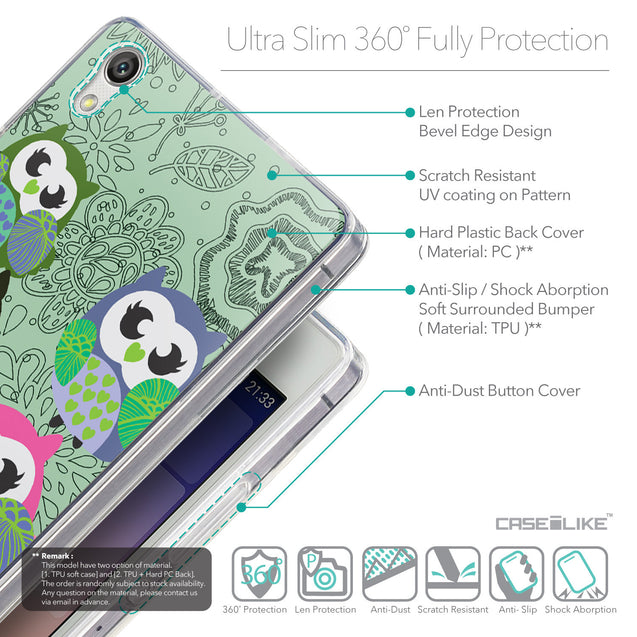 Details in English - CASEiLIKE Huawei Ascend P7 back cover Owl Graphic Design 3313