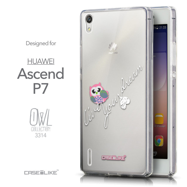 Front & Side View - CASEiLIKE Huawei Ascend P7 back cover Owl Graphic Design 3314