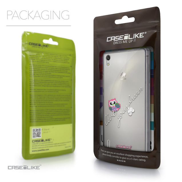 Packaging - CASEiLIKE Huawei Ascend P7 back cover Owl Graphic Design 3314