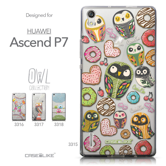 Collection - CASEiLIKE Huawei Ascend P7 back cover Owl Graphic Design 3315