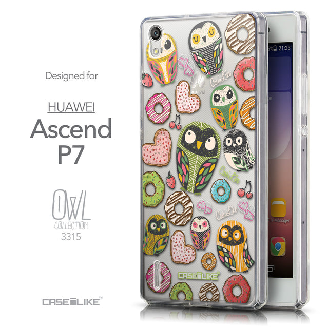 Front & Side View - CASEiLIKE Huawei Ascend P7 back cover Owl Graphic Design 3315