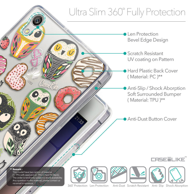 Details in English - CASEiLIKE Huawei Ascend P7 back cover Owl Graphic Design 3315