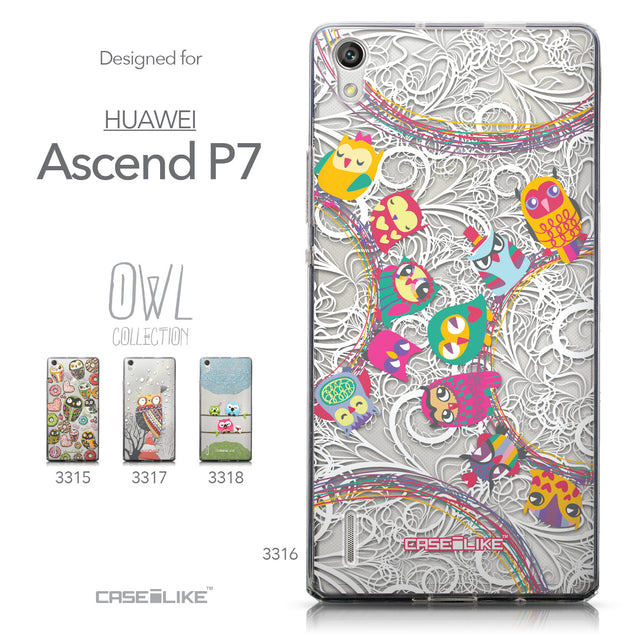 Collection - CASEiLIKE Huawei Ascend P7 back cover Owl Graphic Design 3316