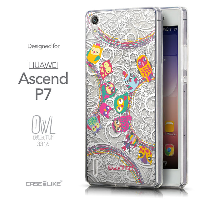 Front & Side View - CASEiLIKE Huawei Ascend P7 back cover Owl Graphic Design 3316