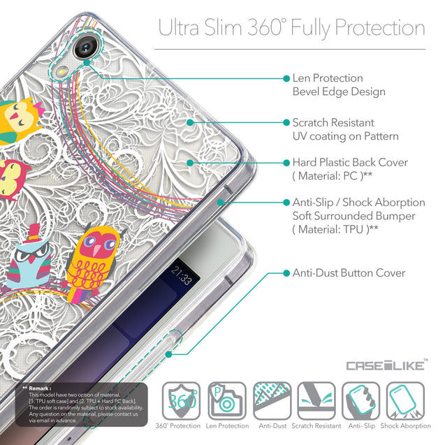 Details in English - CASEiLIKE Huawei Ascend P7 back cover Owl Graphic Design 3316