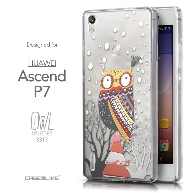 Front & Side View - CASEiLIKE Huawei Ascend P7 back cover Owl Graphic Design 3317