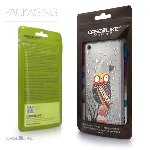 Packaging - CASEiLIKE Huawei Ascend P7 back cover Owl Graphic Design 3317