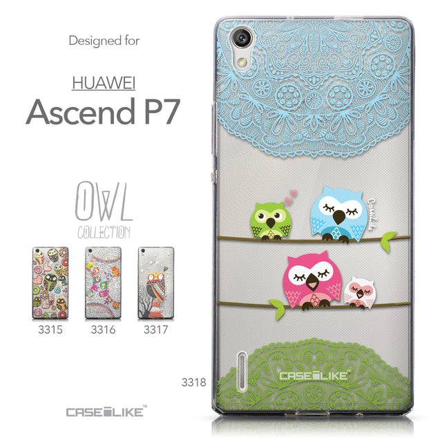 Collection - CASEiLIKE Huawei Ascend P7 back cover Owl Graphic Design 3318