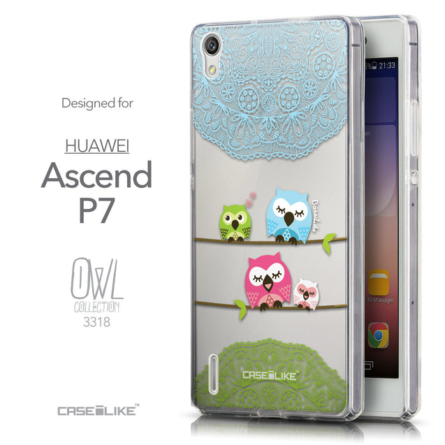 Front & Side View - CASEiLIKE Huawei Ascend P7 back cover Owl Graphic Design 3318