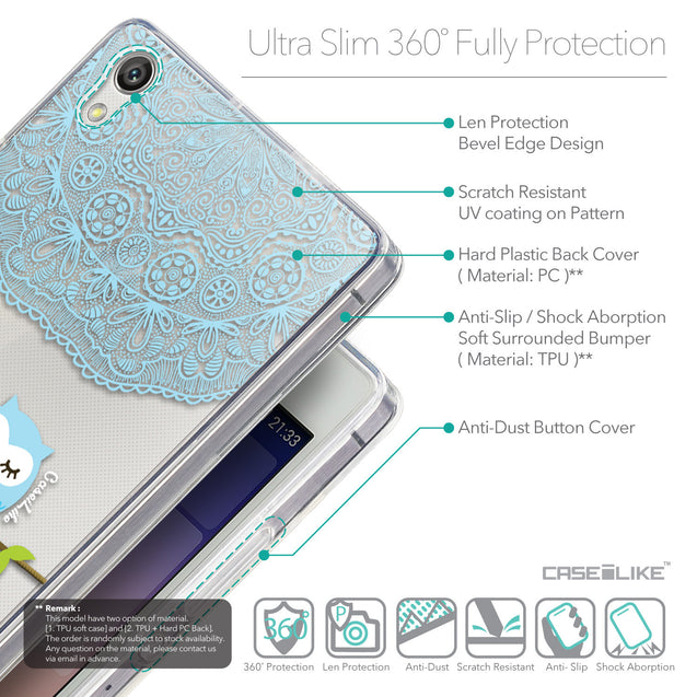 Details in English - CASEiLIKE Huawei Ascend P7 back cover Owl Graphic Design 3318