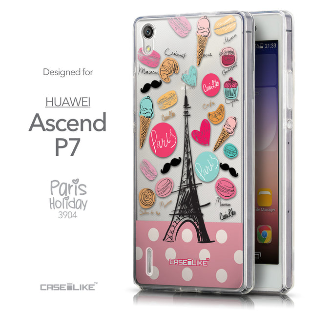 Front & Side View - CASEiLIKE Huawei Ascend P7 back cover Paris Holiday 3904