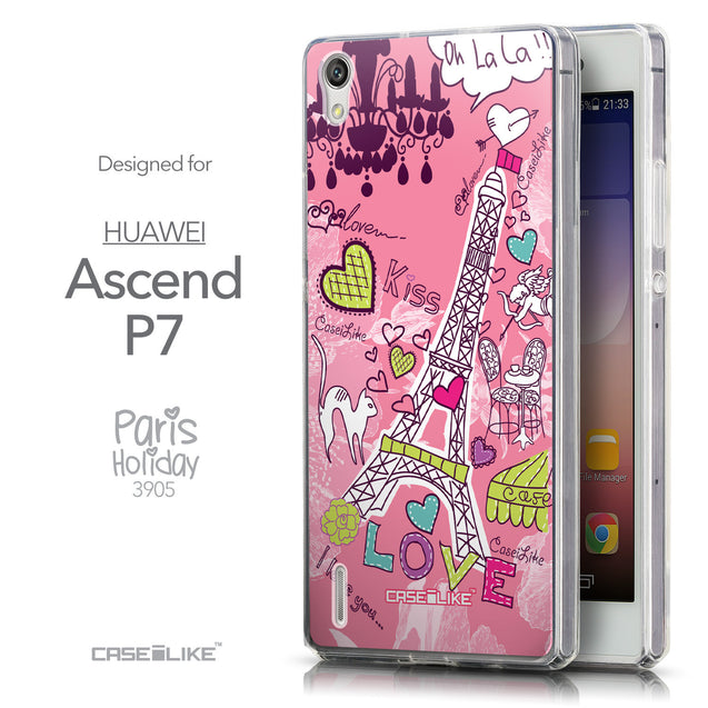 Front & Side View - CASEiLIKE Huawei Ascend P7 back cover Paris Holiday 3905