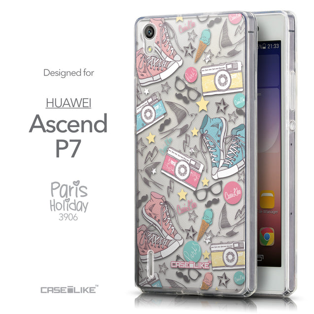 Front & Side View - CASEiLIKE Huawei Ascend P7 back cover Paris Holiday 3906