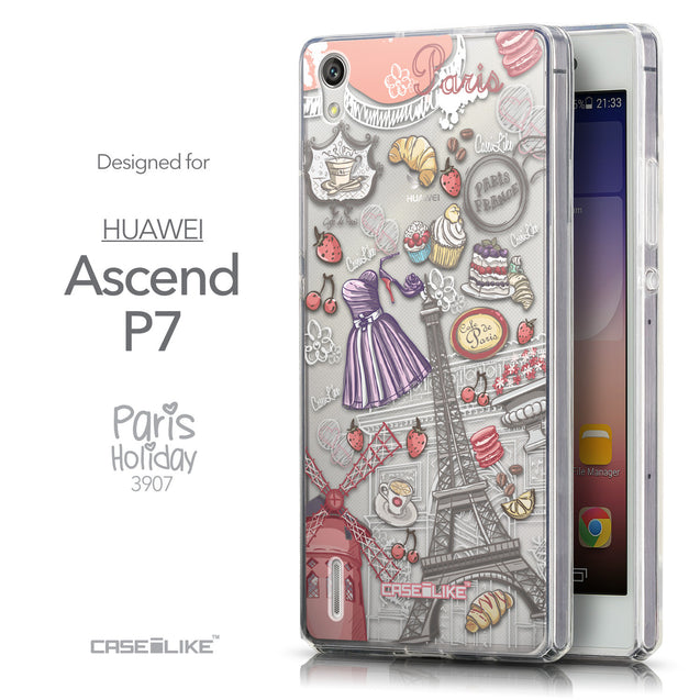 Front & Side View - CASEiLIKE Huawei Ascend P7 back cover Paris Holiday 3907