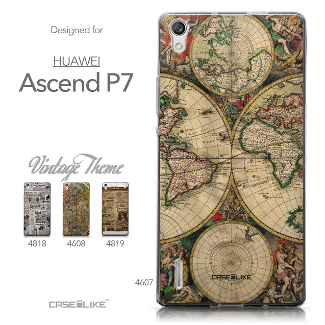 Collection - CASEiLIKE Huawei Ascend P7 back cover World Map Vintage 4607