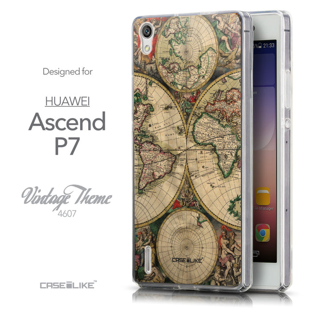 Front & Side View - CASEiLIKE Huawei Ascend P7 back cover World Map Vintage 4607