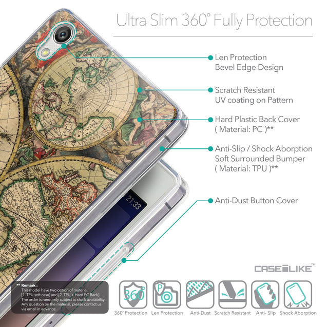Details in English - CASEiLIKE Huawei Ascend P7 back cover World Map Vintage 4607