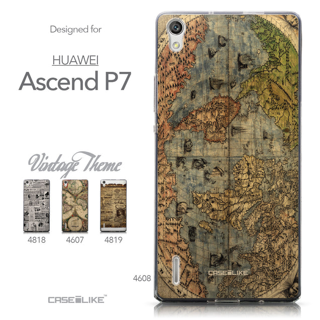 Collection - CASEiLIKE Huawei Ascend P7 back cover World Map Vintage 4608