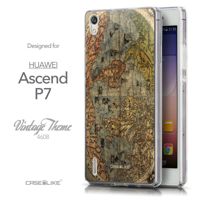 Front & Side View - CASEiLIKE Huawei Ascend P7 back cover World Map Vintage 4608