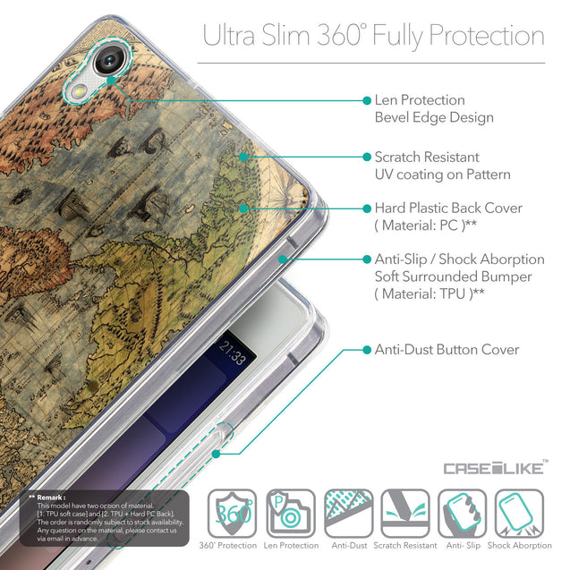 Details in English - CASEiLIKE Huawei Ascend P7 back cover World Map Vintage 4608