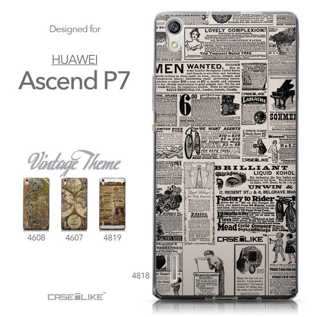 Collection - CASEiLIKE Huawei Ascend P7 back cover Vintage Newspaper Advertising 4818