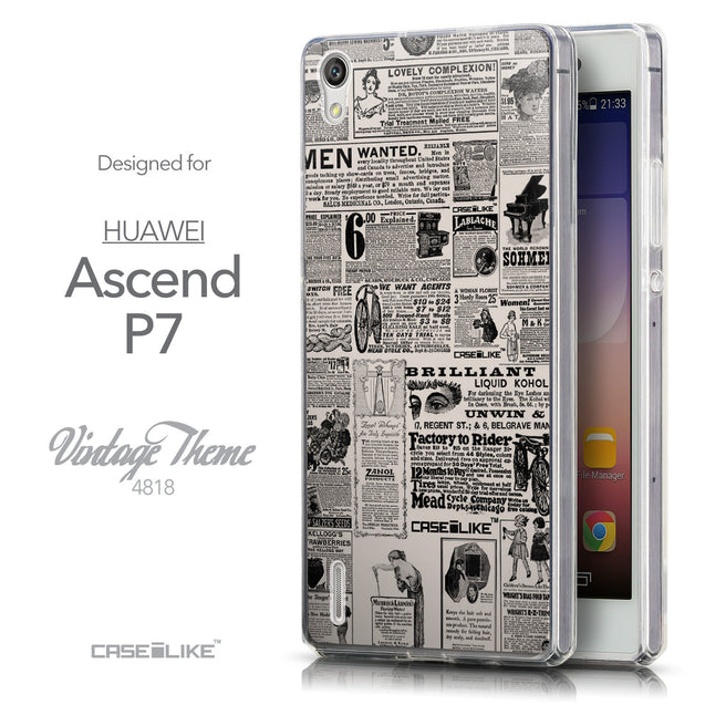 Front & Side View - CASEiLIKE Huawei Ascend P7 back cover Vintage Newspaper Advertising 4818