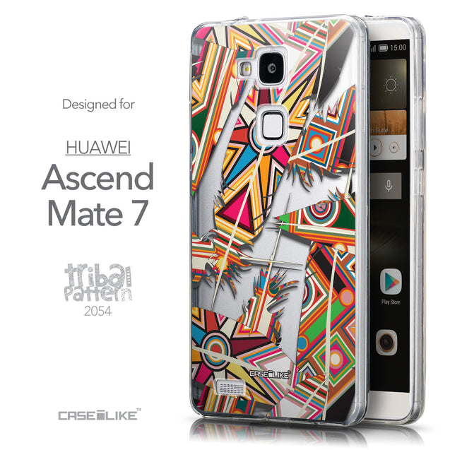Front & Side View - CASEiLIKE Huawei Ascend Mate 7 back cover Indian Tribal Theme Pattern 2054