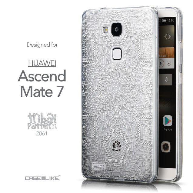 Front & Side View - CASEiLIKE Huawei Ascend Mate 7 back cover Indian Line Art 2061