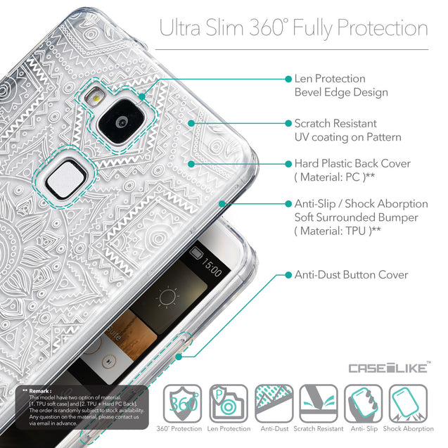 Details in English - CASEiLIKE Huawei Ascend Mate 7 back cover Indian Line Art 2061