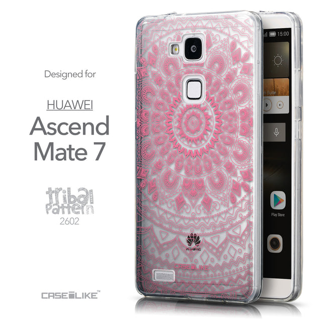 Front & Side View - CASEiLIKE Huawei Ascend Mate 7 back cover Indian Line Art 2062