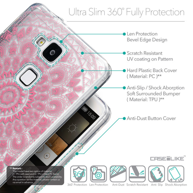 Details in English - CASEiLIKE Huawei Ascend Mate 7 back cover Indian Line Art 2062
