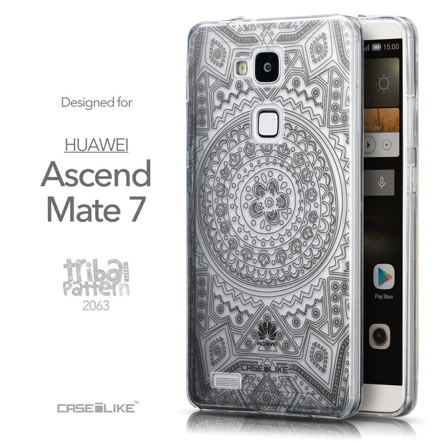 Front & Side View - CASEiLIKE Huawei Ascend Mate 7 back cover Indian Line Art 2063