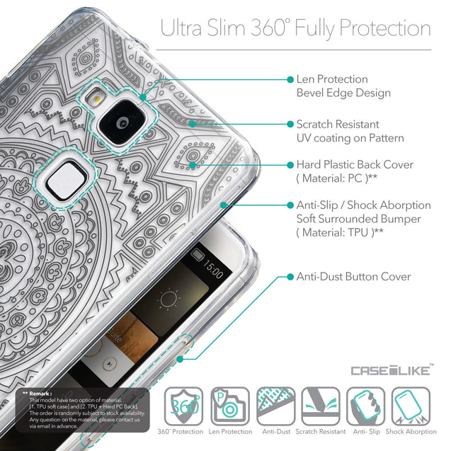 Details in English - CASEiLIKE Huawei Ascend Mate 7 back cover Indian Line Art 2063